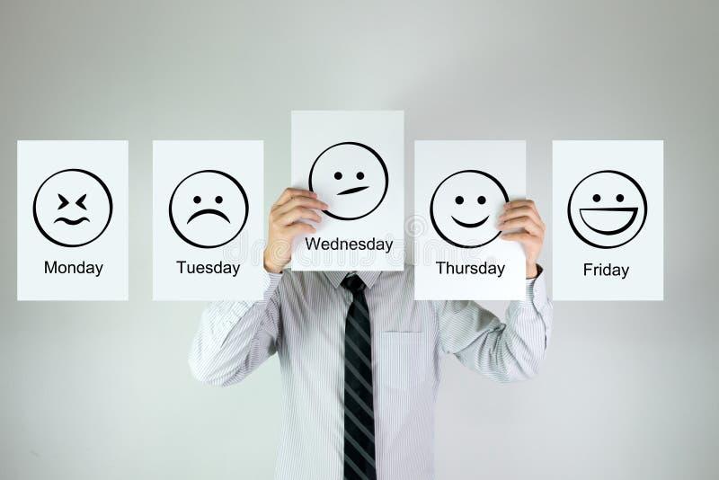 每周工作情感 免版税库存照片