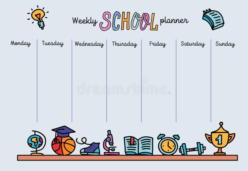 每周计划员模板 组织者和计划(含附注的位置) 学校的矢量手绘线条插图 向量例证