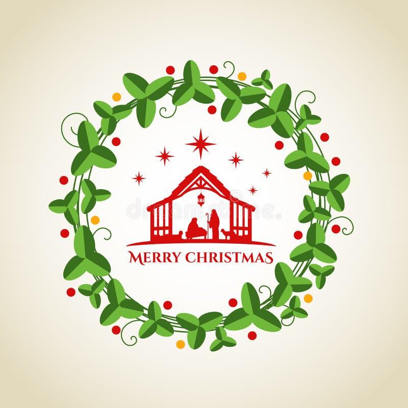 每夜的圣诞节风景:玛丽和约瑟夫在有小的耶稣一个饲槽小儿床和圈子花圈图表传染媒介的设计 库存例证