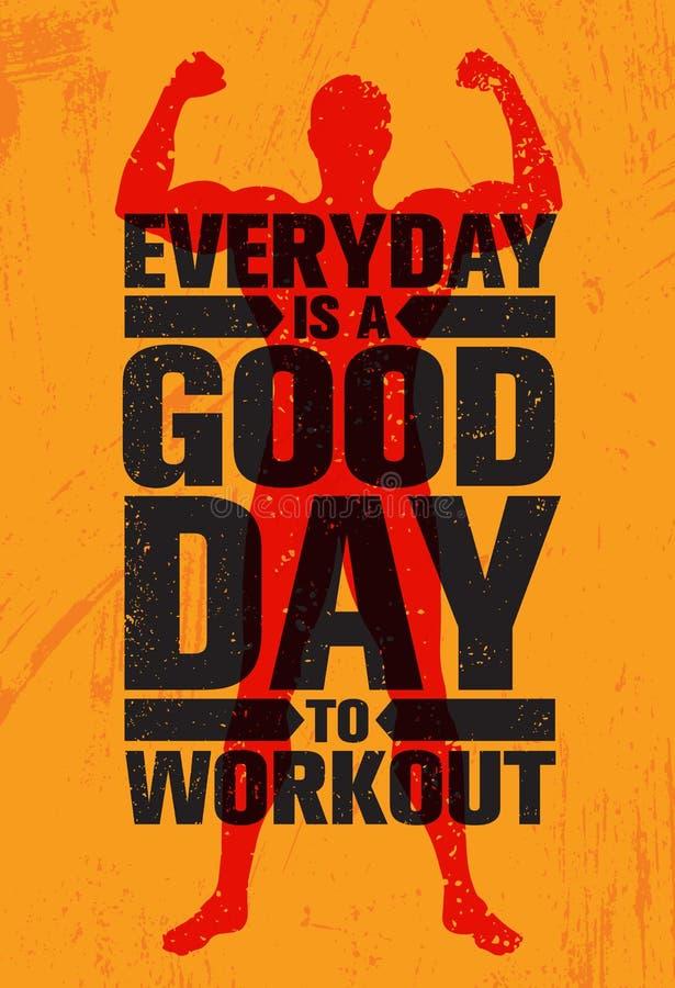 每天一个早晨好对锻炼 富启示性的锻炼和健身健身房刺激行情例证标志 皇族释放例证