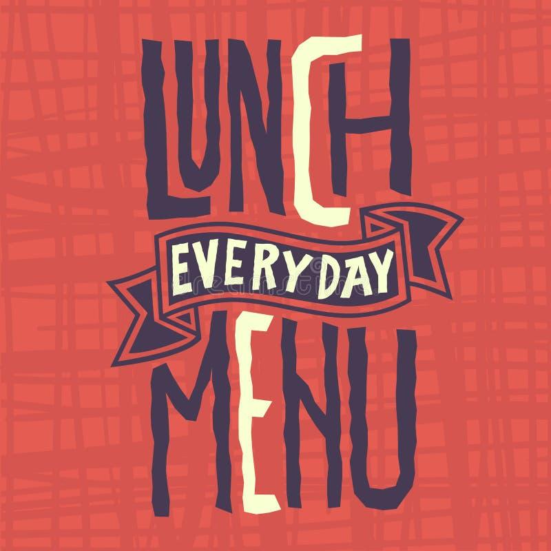 每天午餐菜单锋利标签设计Artistc风俗印刷术 皇族释放例证