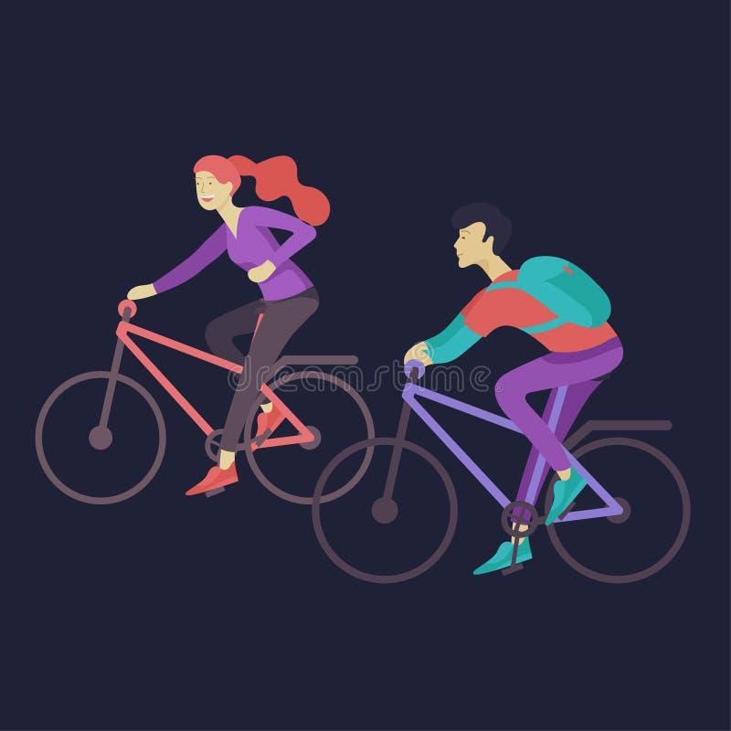 每天定期场面和一起花费时间的年轻浪漫夫妇 库存例证