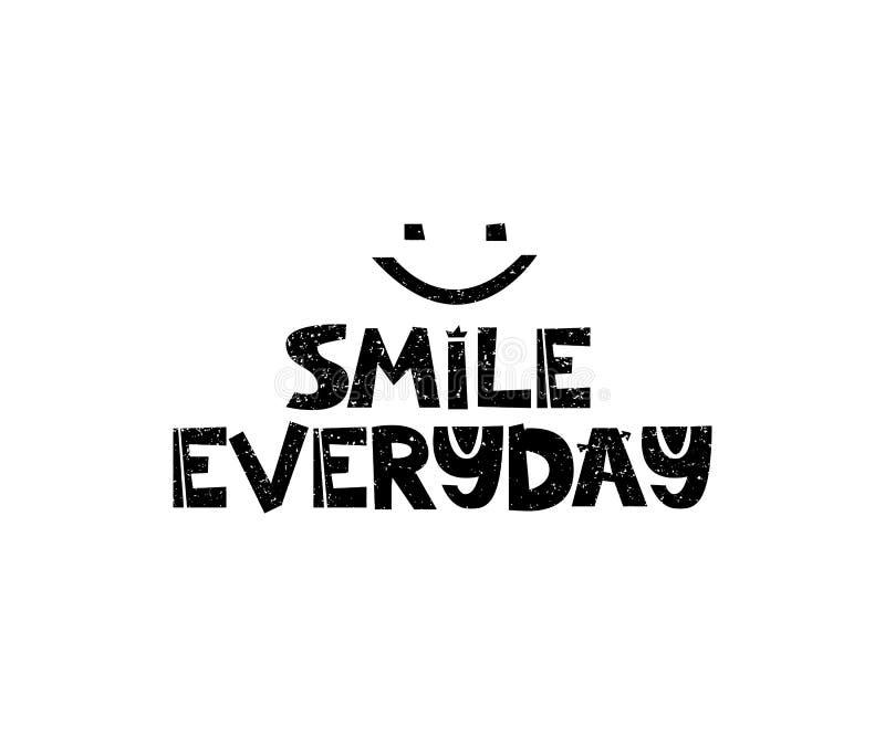 每天的微笑 与激动人心的行情的手拉的样式印刷术海报 贺卡、印刷品艺术或者家庭装饰 库存例证