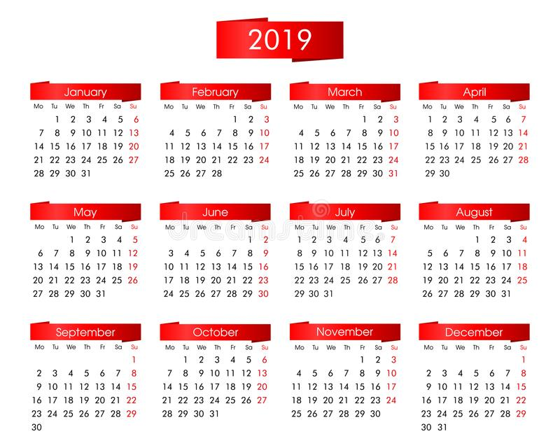 每年日历在2019年与在白色背景的明亮的红色图表 库存图片