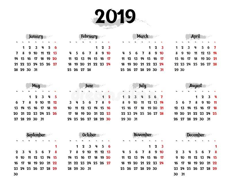 每年日历在2019年与灰色突出的元素 库存例证