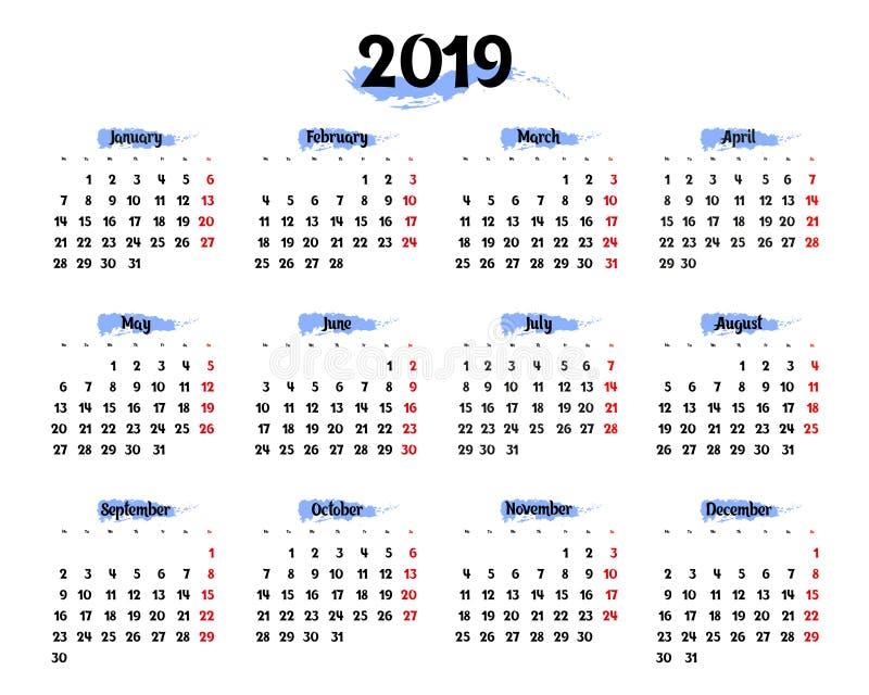每年日历在2019年与蓝色突出的元素 向量例证