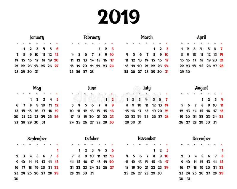 每年日历在2019年 库存例证