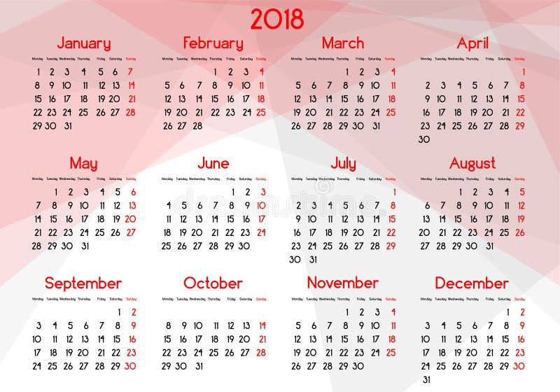 每年日历年2018年 皇族释放例证
