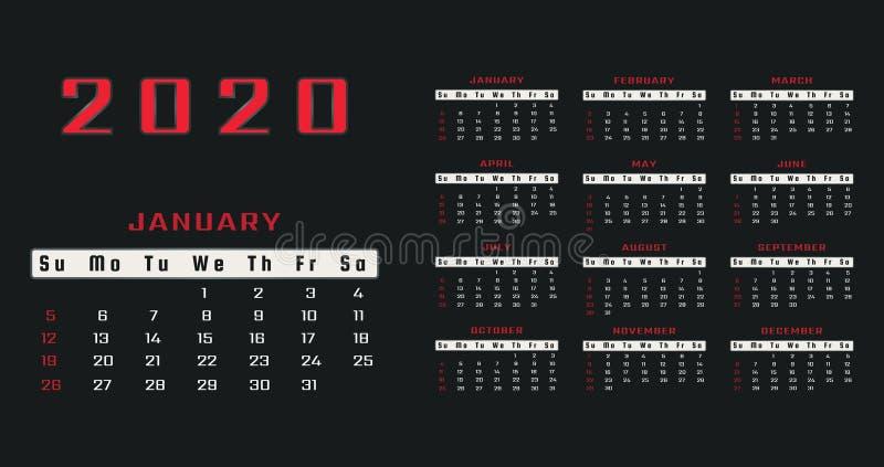 每年日历2020年传染媒介在黑背景的模板设计与红色文本 基本网格布局 r Busi 皇族释放例证