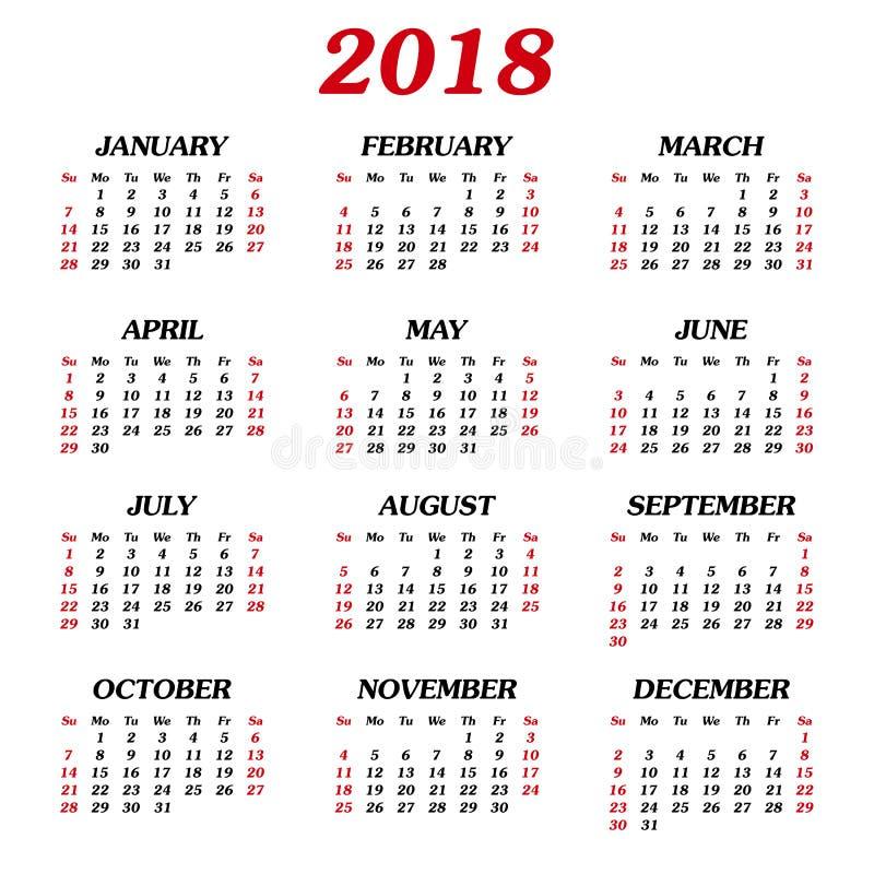 每年日历2018年 向量例证