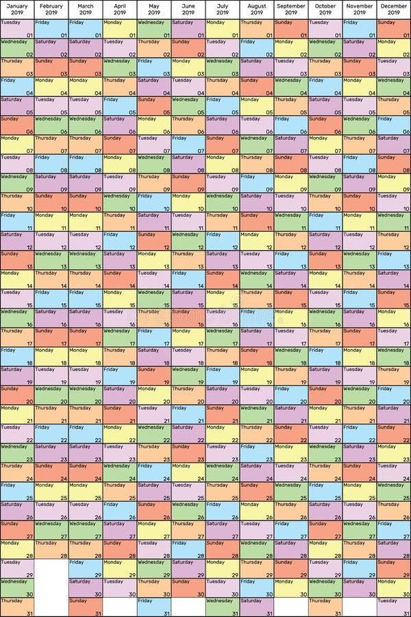 每年计划者2019垂直的颜色周日 向量例证