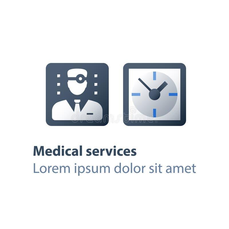 每年身体检查,医生任命时间、规则身体检查、医疗保健服务、医师或者普通开业医生 库存例证
