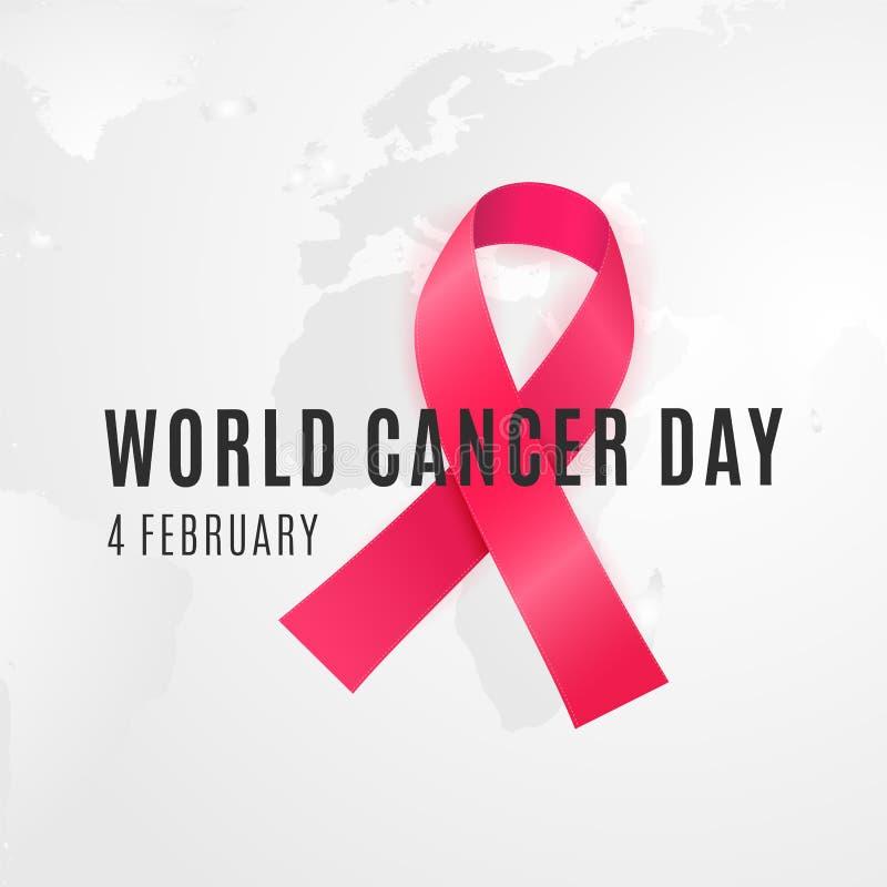 每年2月4日团结它的力量的一起人类立场反对癌症 向量例证