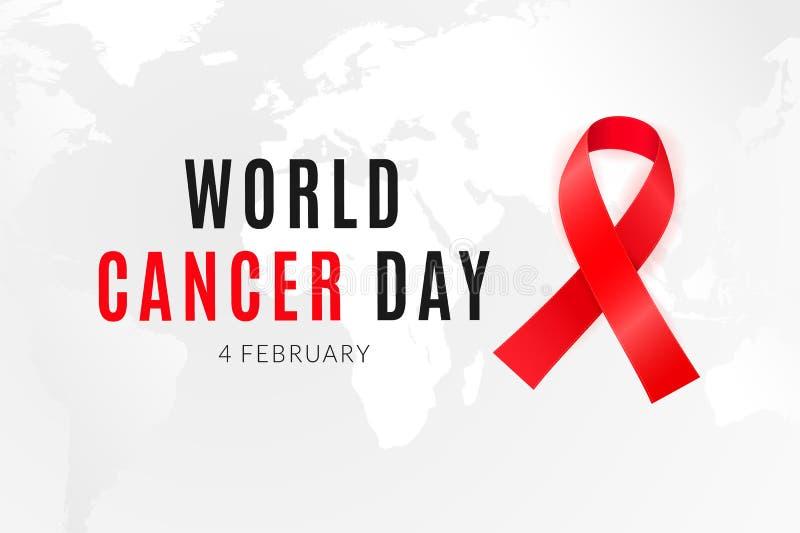 每年2月4日团结它的力量的一起人类立场反对癌症 库存例证