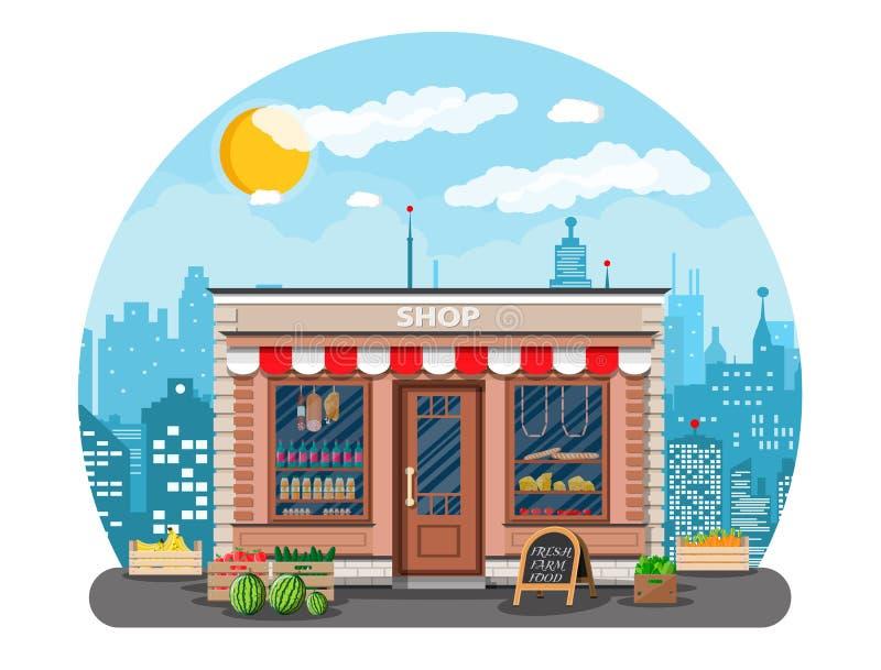 每日产品商店在城市 库存例证