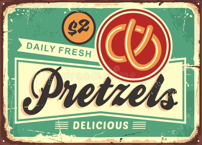 每日新鲜的热的椒盐脆饼减速火箭的面包店标志 皇族释放例证