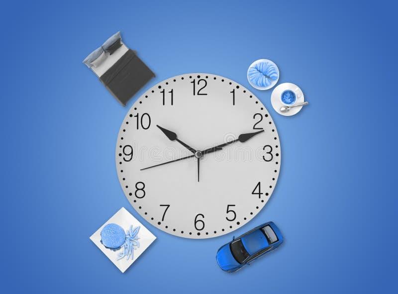 每日计划,带时钟蓝色色调 免版税图库摄影