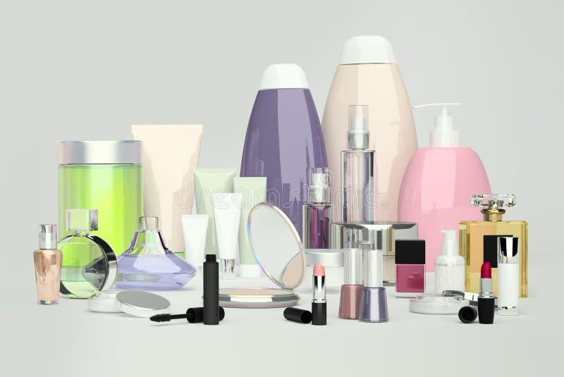每日,秀丽关心化妆用品和构成产品 奶油色表面 向量例证
