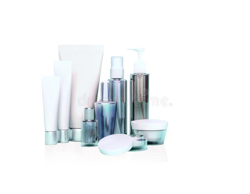 每日,秀丽关心化妆用品 面霜、眼睛奶油、血清和锂 免版税库存照片