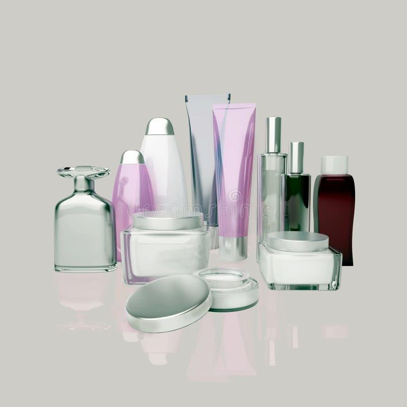 每日,秀丽关心化妆用品 面霜、眼睛奶油、血清和锂 库存照片