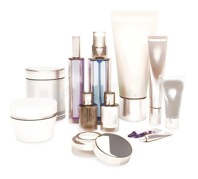 每日,秀丽关心化妆用品 面霜、眼睛奶油、血清和锂 图库摄影