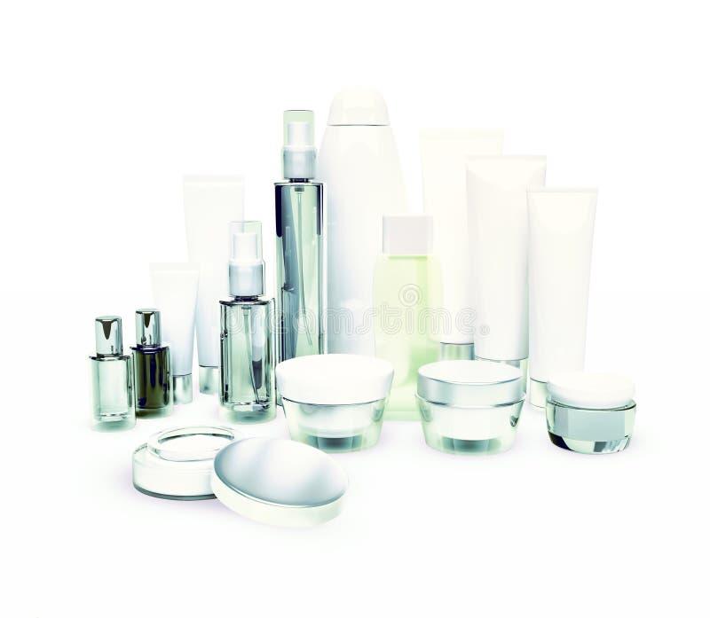 每日,秀丽关心化妆用品 面霜、眼睛奶油、血清和锂 库存图片