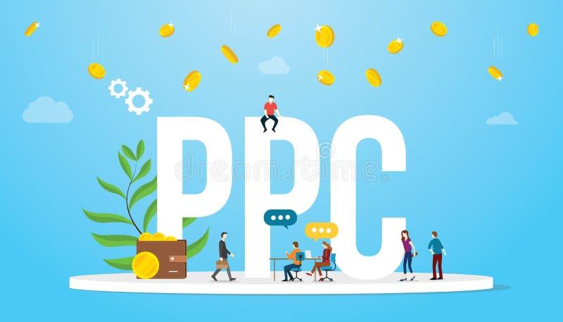 每点击概念广告业会员有大词的和队人的Ppc薪水有落从天空-传染媒介的金钱的 向量例证