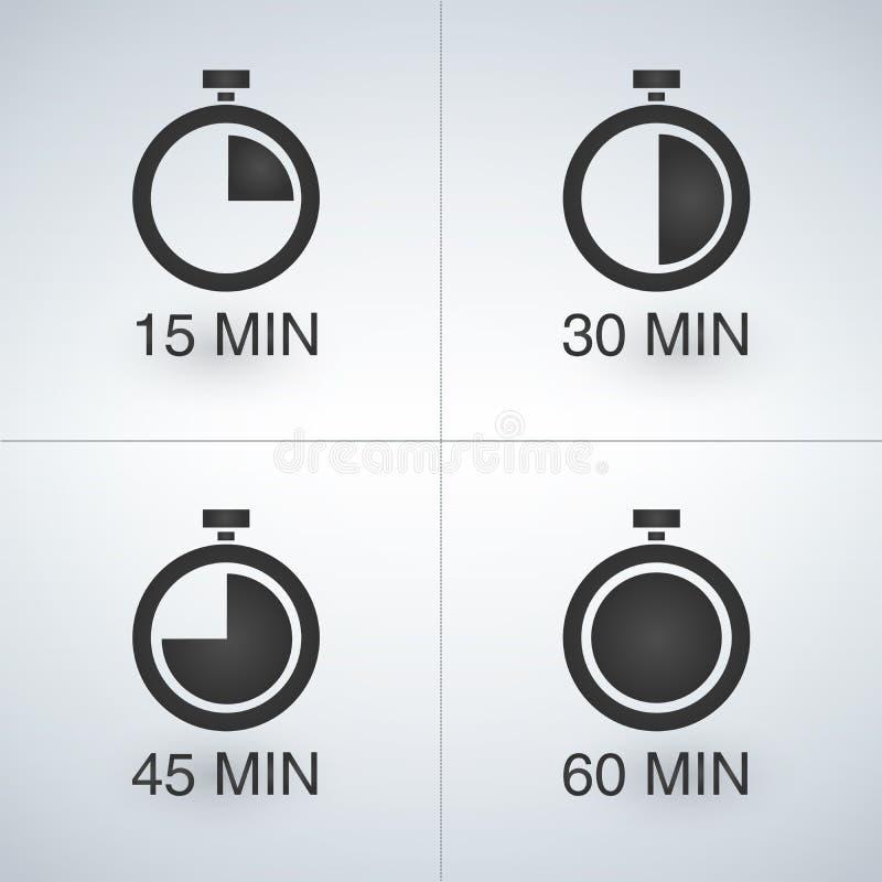 每15分钟定时器集合 库存例证