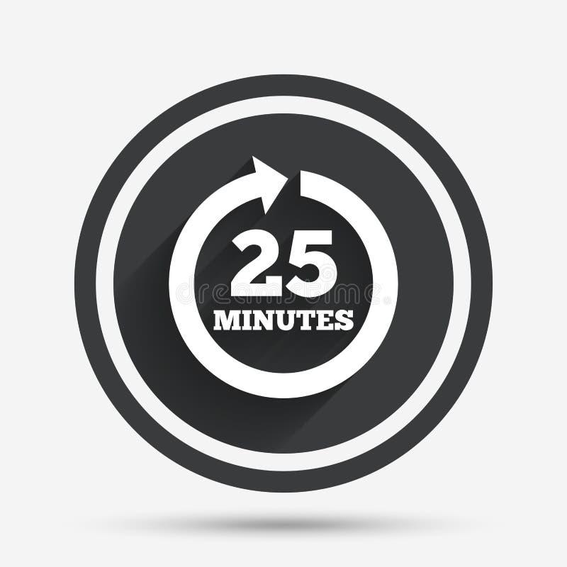 每25分钟标志象 充分的自转箭头 皇族释放例证