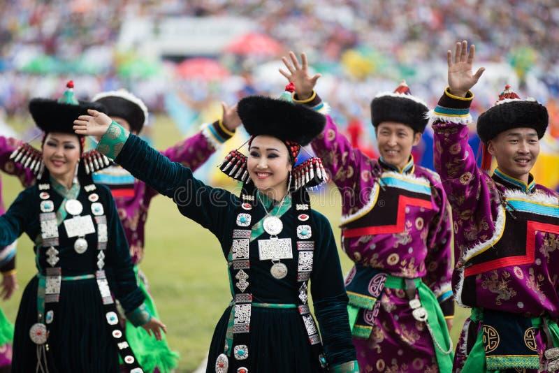 每年Nadaam节日,传统Mongilian 图库摄影