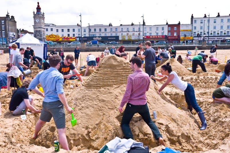 每年RIBA沙堡挑战在马盖特,英国 免版税库存照片