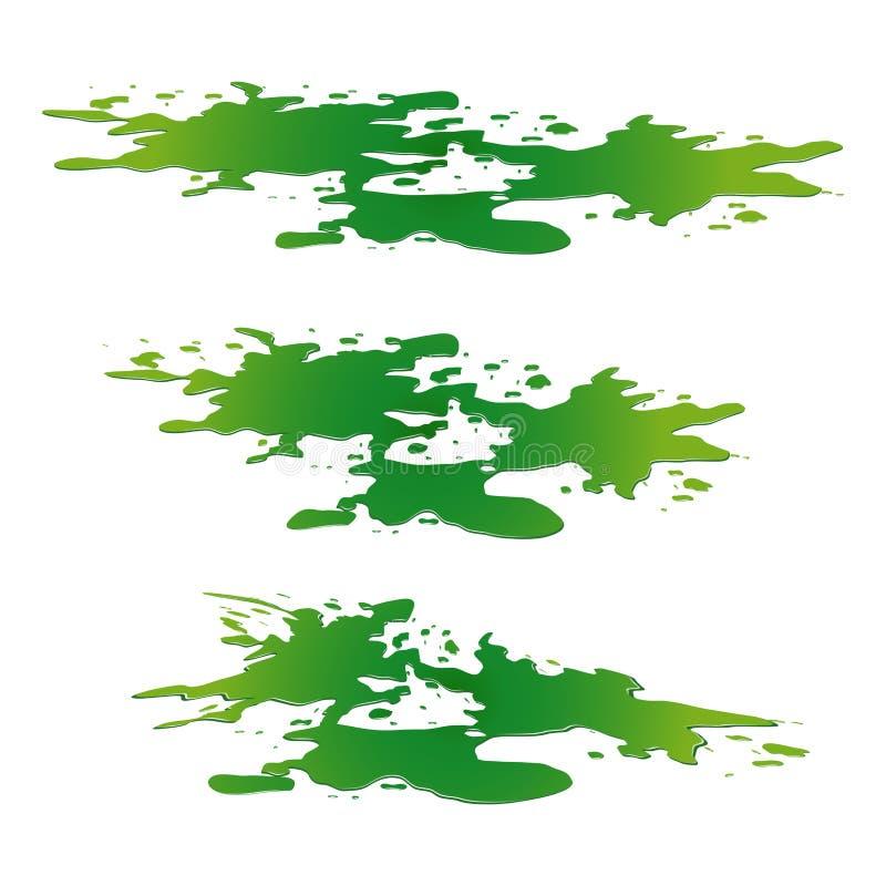 毒性物质溢出水坑  绿色化工污点,积水坑,下落 在白色背景隔绝的传染媒介例证 库存例证