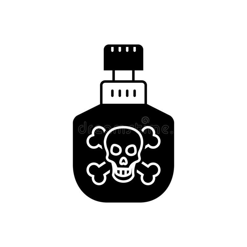 毒物、毒液和含毒物的黑坚实象 向量例证