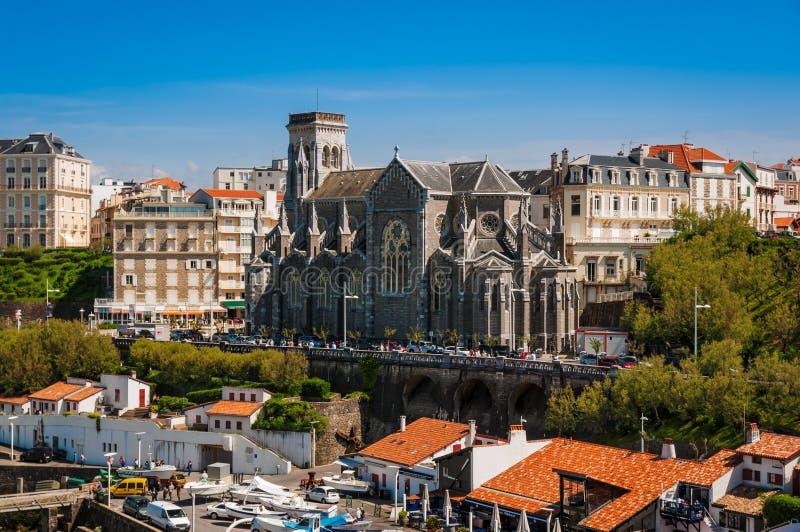 比亚利兹市,法国教会  库存照片