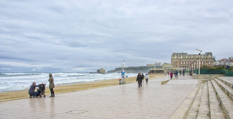 海滩在比亚利兹,法国 免版税库存图片