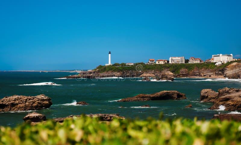 比亚利兹-灯塔和海 免版税库存照片