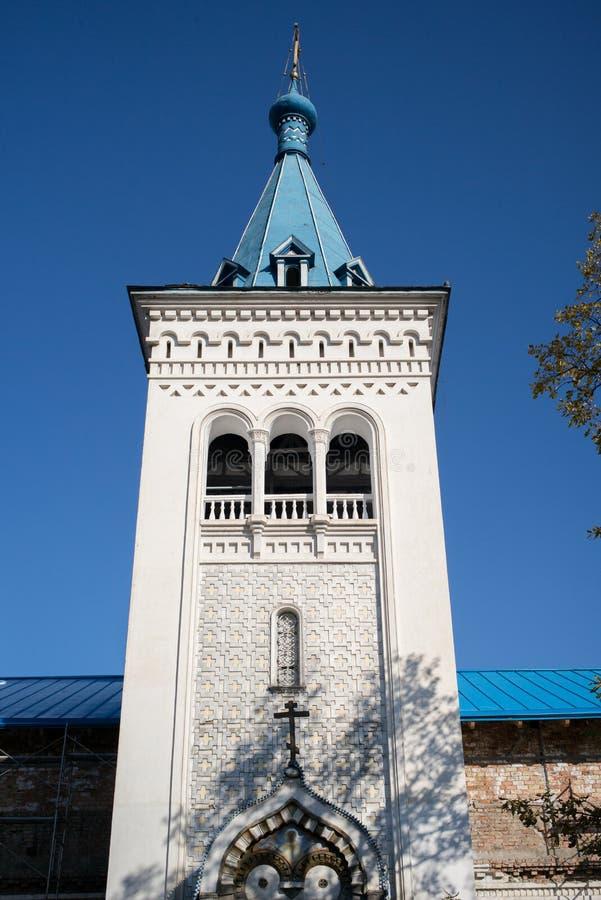 比什凯克,吉尔吉斯斯坦:俄罗斯正教会外部  免版税库存照片