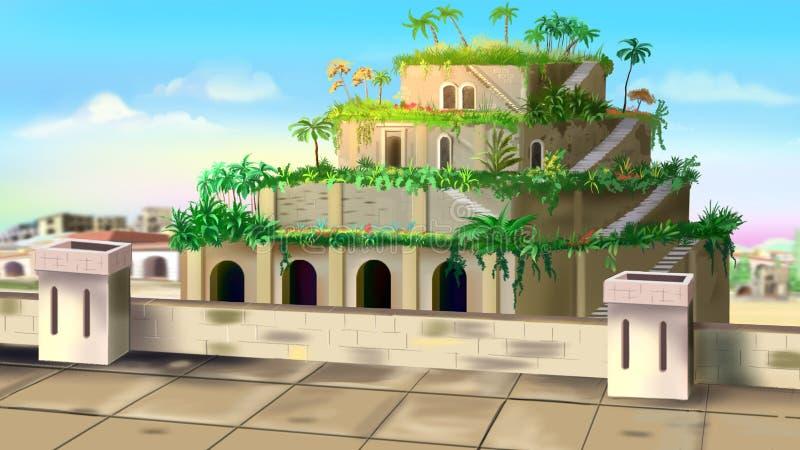 巴比伦斜坡上的花园  库存例证