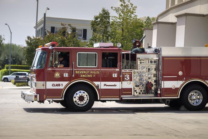比佛利山,加州, 2015火Department's 免版税图库摄影