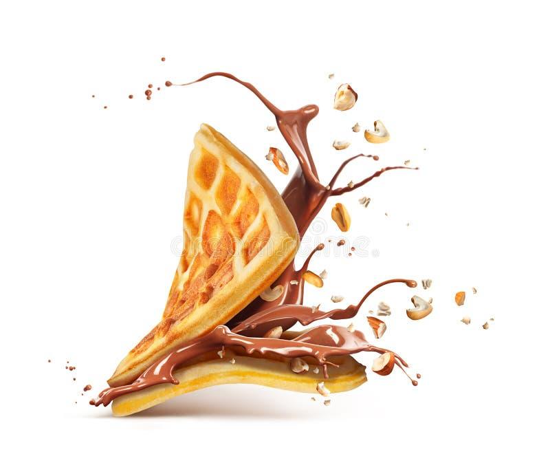 比利时华夫饼干用在白色和坚果隔绝的巧克力 库存图片