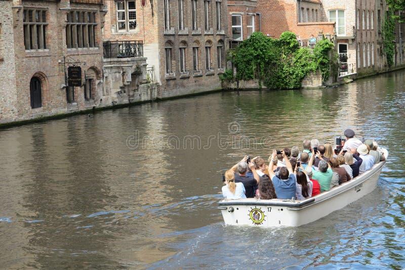 比利时历史悠久的布鲁日美丽运河 库存图片