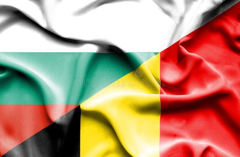 比利时和保加利亚的挥动的旗子 向量例证