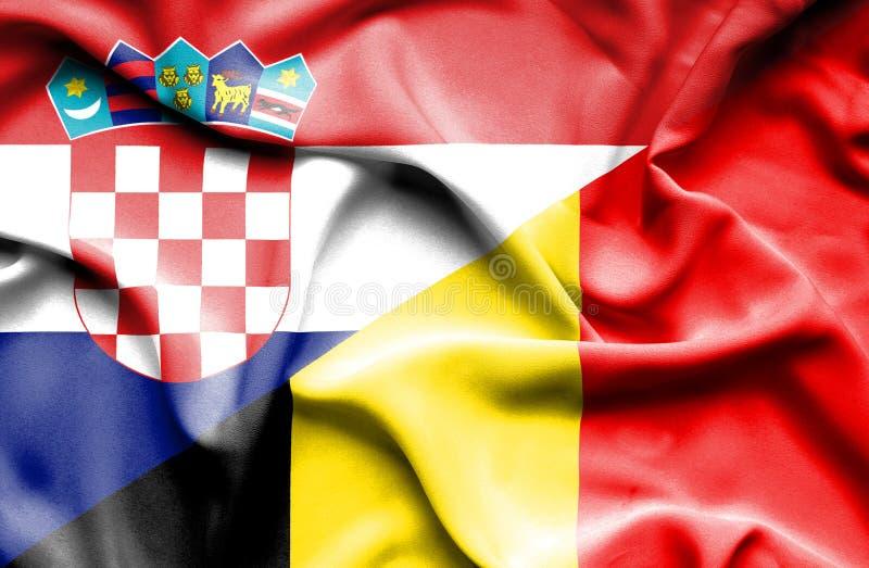 比利时和克罗地亚的挥动的旗子 库存例证