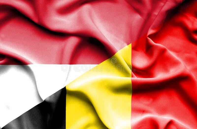 比利时和印度尼西亚的挥动的旗子 向量例证