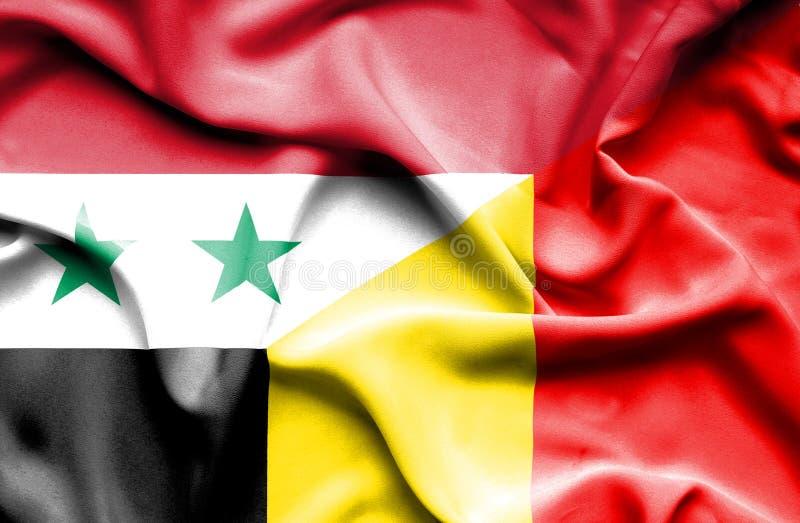 比利时和叙利亚的挥动的旗子 皇族释放例证
