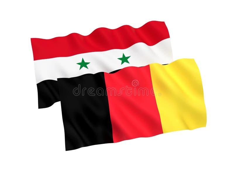 比利时和叙利亚的旗子白色背景的 向量例证