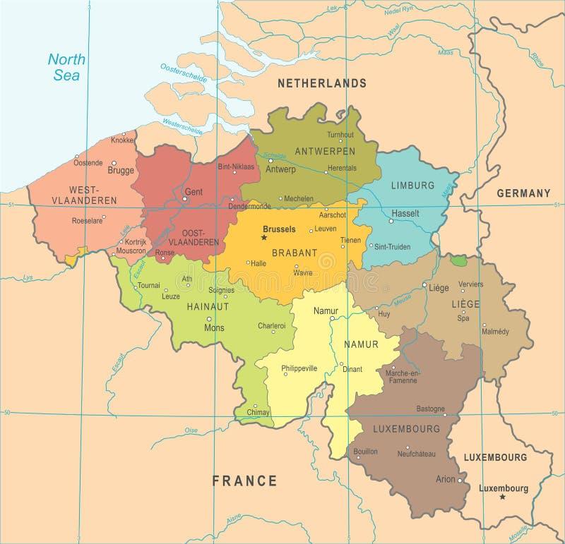 比利时地图-传染媒介例证. 城市, 世界.图片