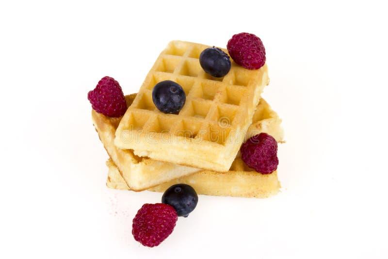 比利时奶蛋烘饼用新鲜的莓果 免版税库存图片