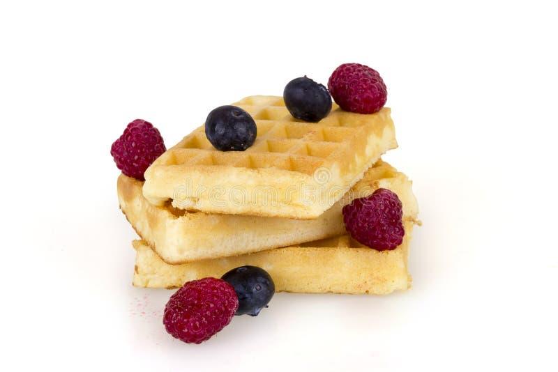 比利时奶蛋烘饼用新鲜的莓果 图库摄影