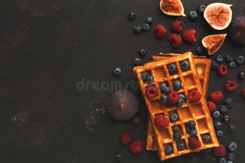 比利时奶蛋烘饼用莓果和无花果 免版税图库摄影
